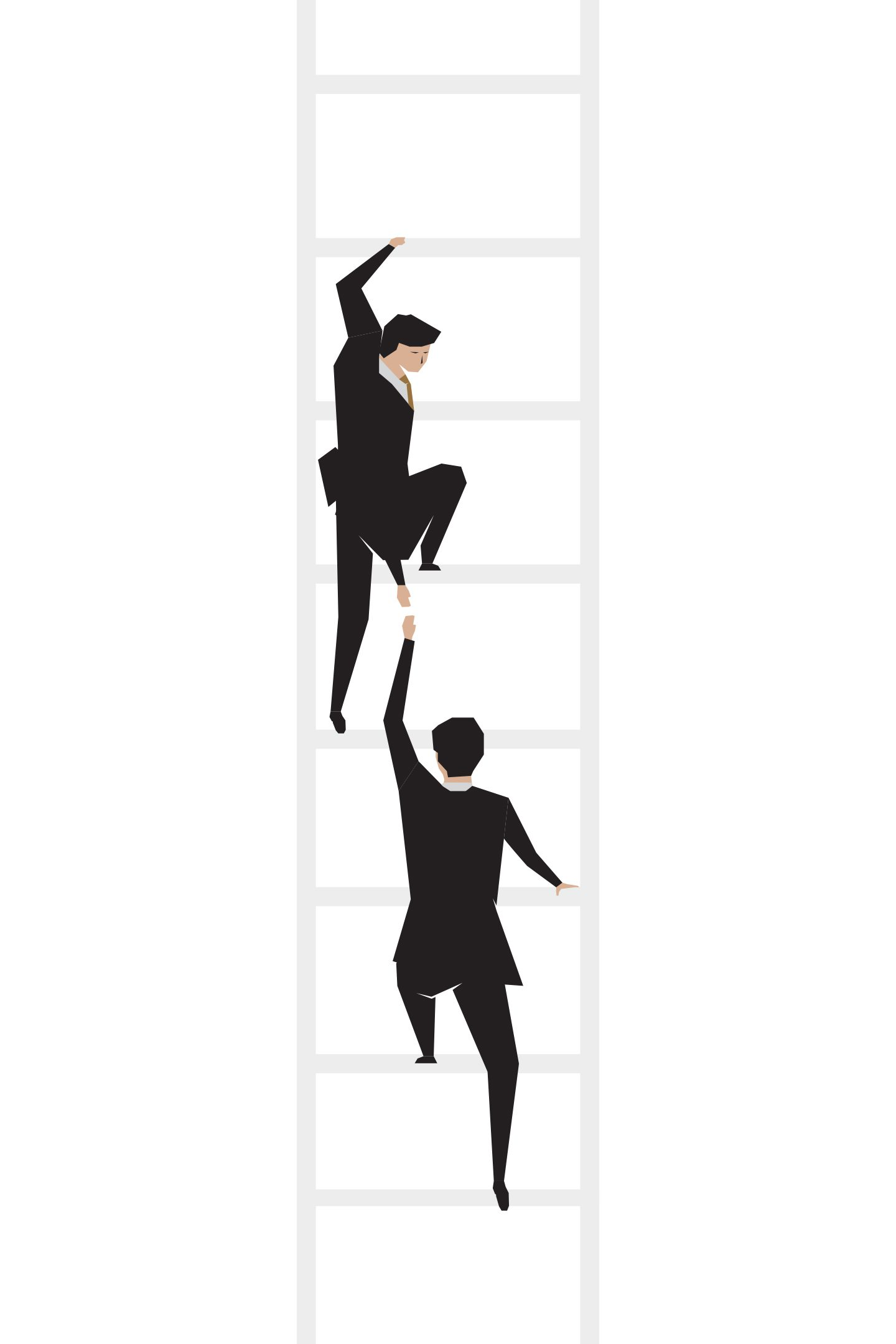 illustration of a man in a suit helping his employee climb a ladder