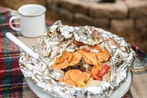 meat and veggie hobo foil packets