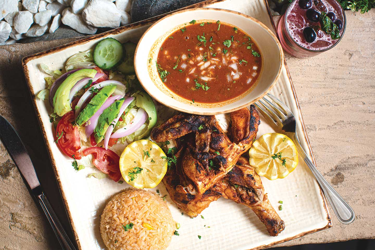 pollo asado or grilled chicken from mayan kitchen