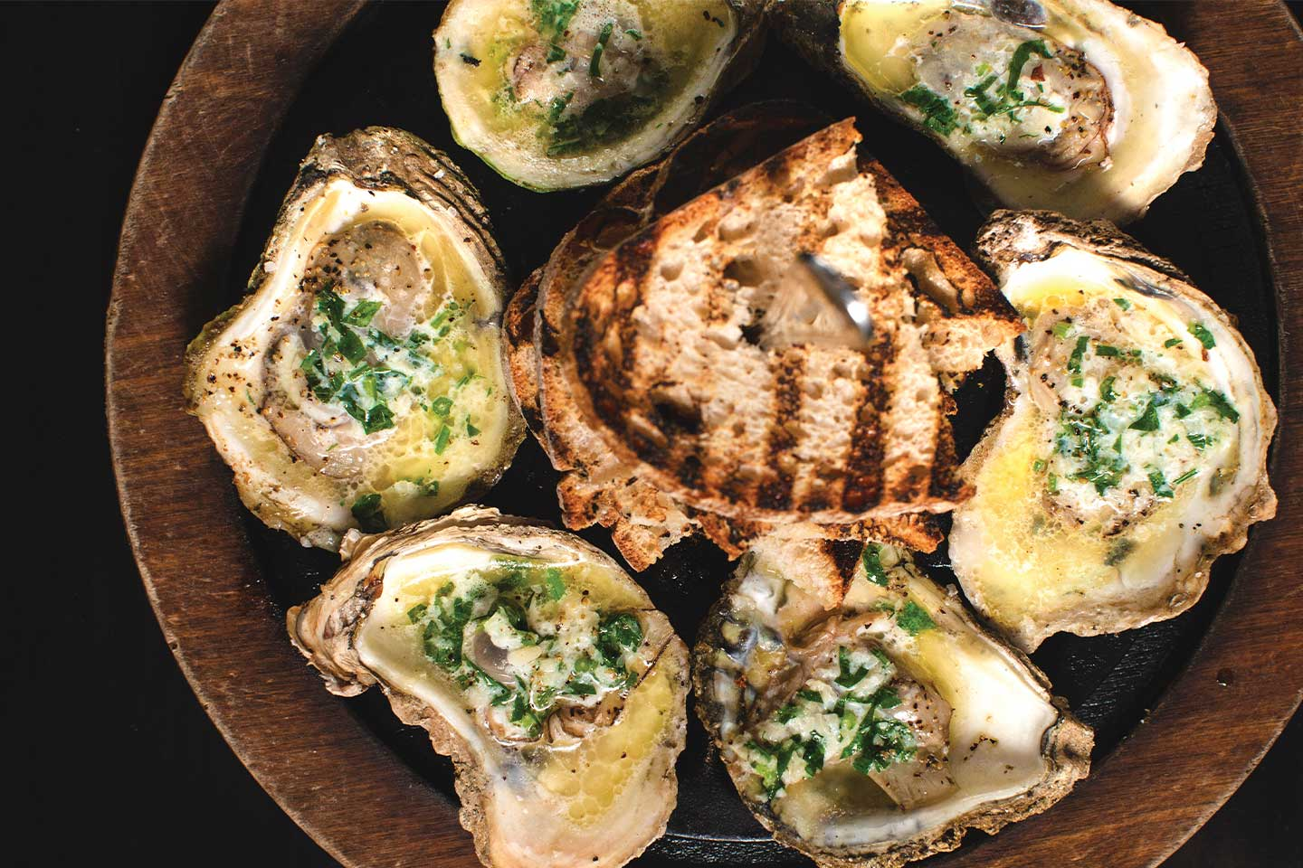 grilled chesapeake oysters with toasted ciabatta bread