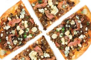 sweet and savory bbq pizza flatbread appetizer