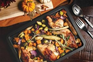 maple mustard roasted chicken with brussels sprouts, squash, and bacon sheet pan meal