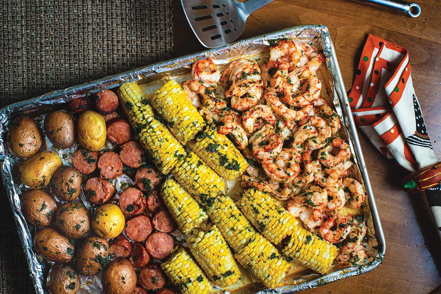 shrimp and sausage sheet pan bake with corn and potatoes