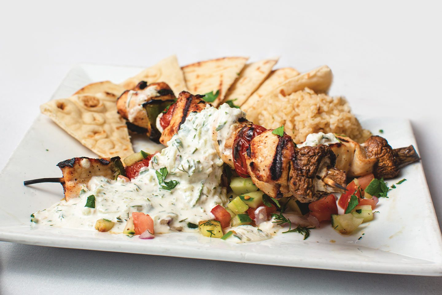 plate from acropolis grill with tzatziki sauce on it