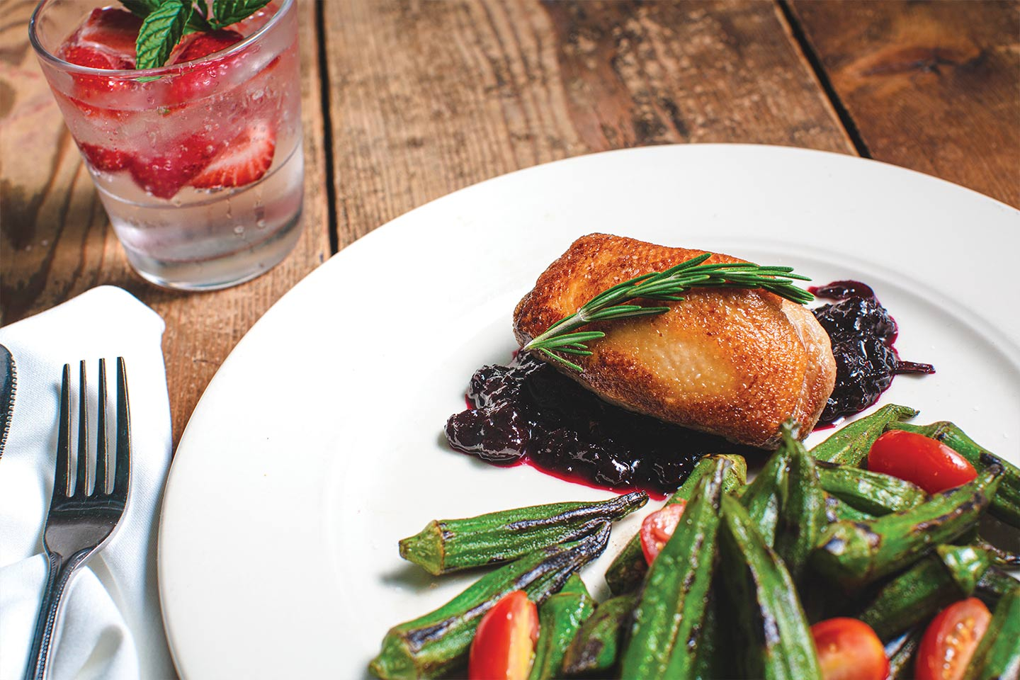 Cherry compote sauce from canyon grill served with duck