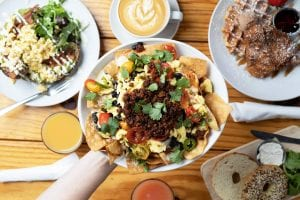 chilaquiles and various other brunch dishes from the daily ration