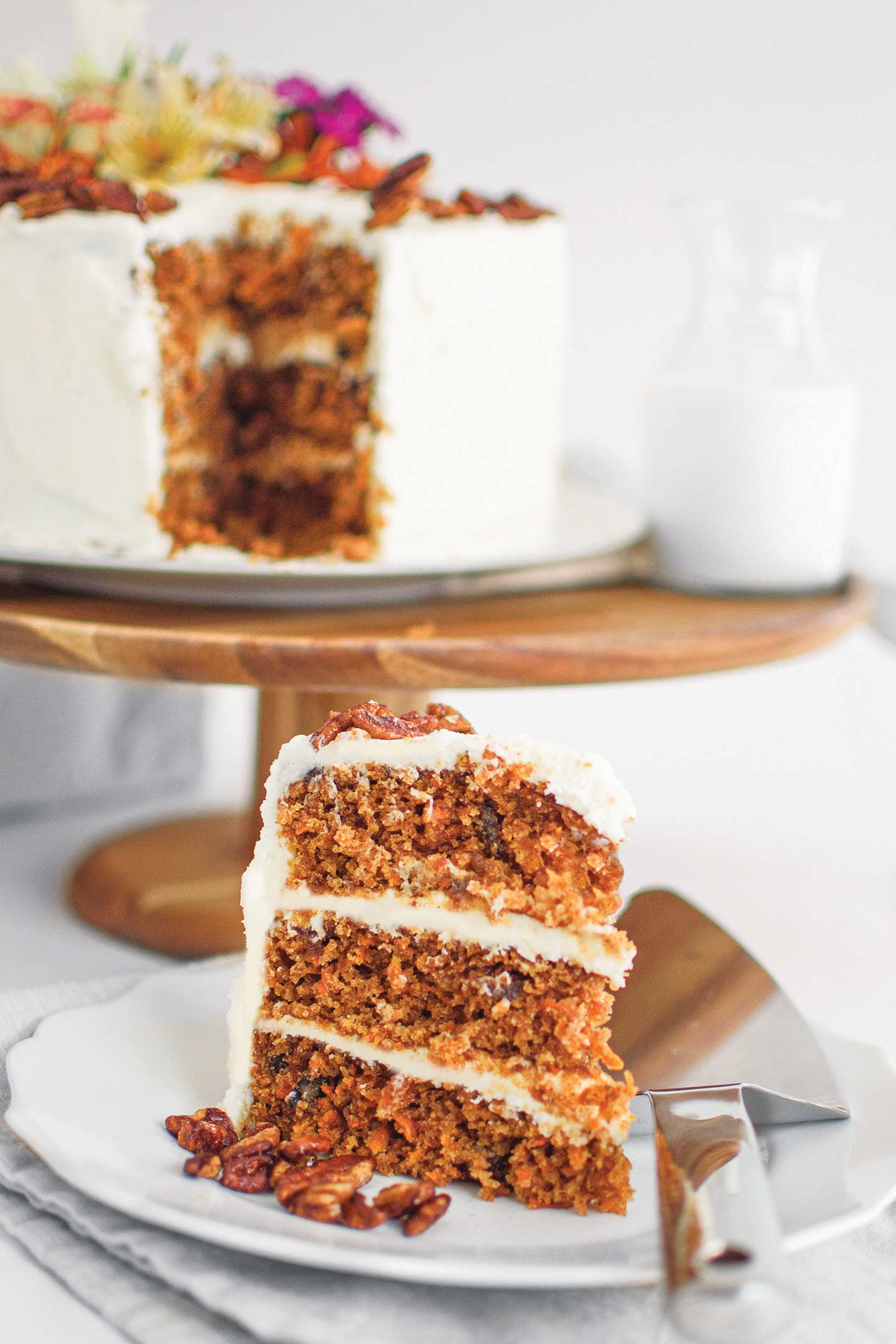 Alesha Manning's Carrot Cake with Candied Bourbon pecans