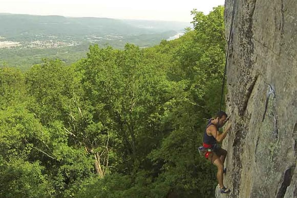 Man Rock Climbing in Chattanooga