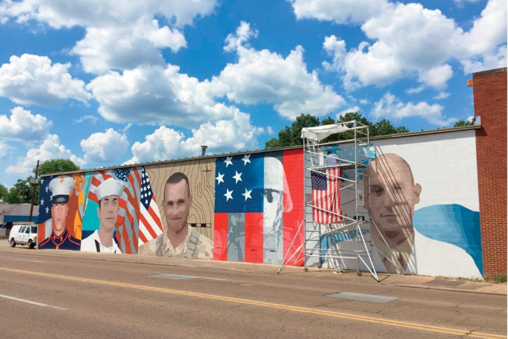 """Mural Honoring the """"Fallen Five"""" by Kevin Bate; Photo by James Berry"""