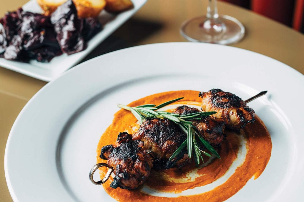Bacon Wrapped Quail Breast from Alleia; Photo by Lanewood Studio
