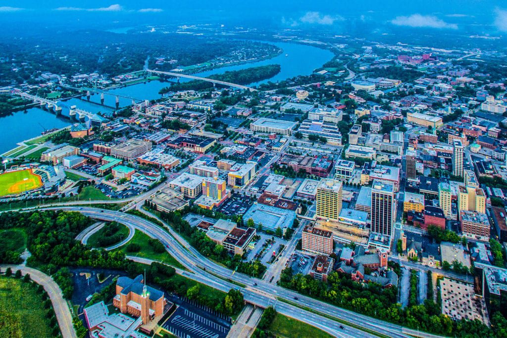 downtown chattanooga arial view