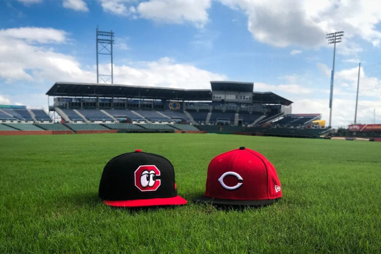 baseball caps on AT&T Field where the Lookouts play