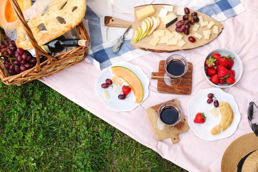 fruit, wine, and cheese picnic