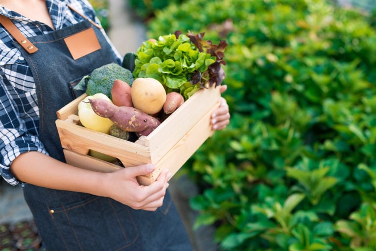 woman carrying a wooden box of produce at a farmers market