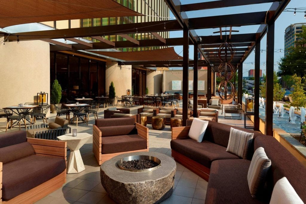 outdoor dining space at Dorato at the Westin
