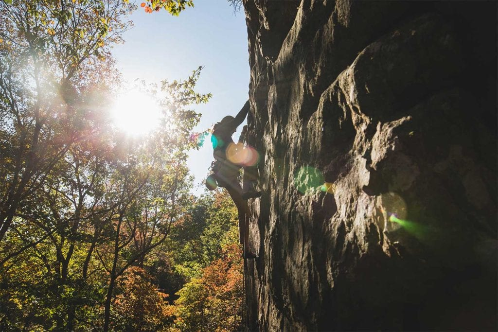 woman bouldering in Chattanooga