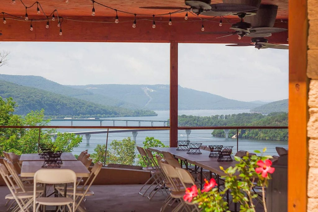 outdoor dining space with a view of the Tennessee River at Lookout Winery, photo courtesy of Lookout Winery