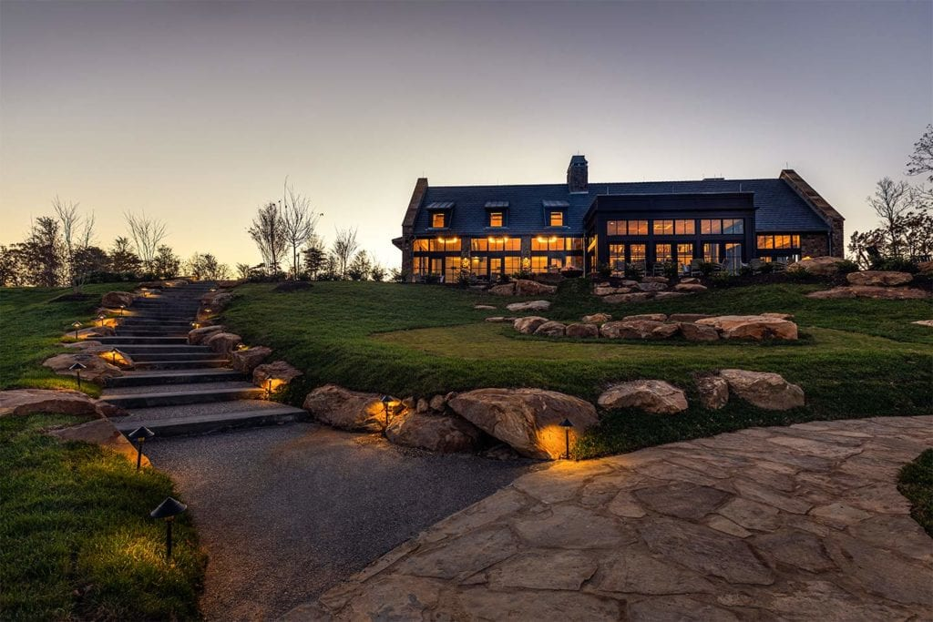 path leading to the Clubhouse at McLemore at dusk; Photo by Lanewood Studio