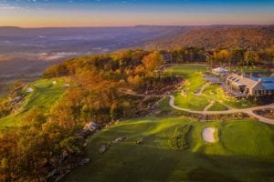 McLemore Clubhouse and Golf Course from Above at Sunset