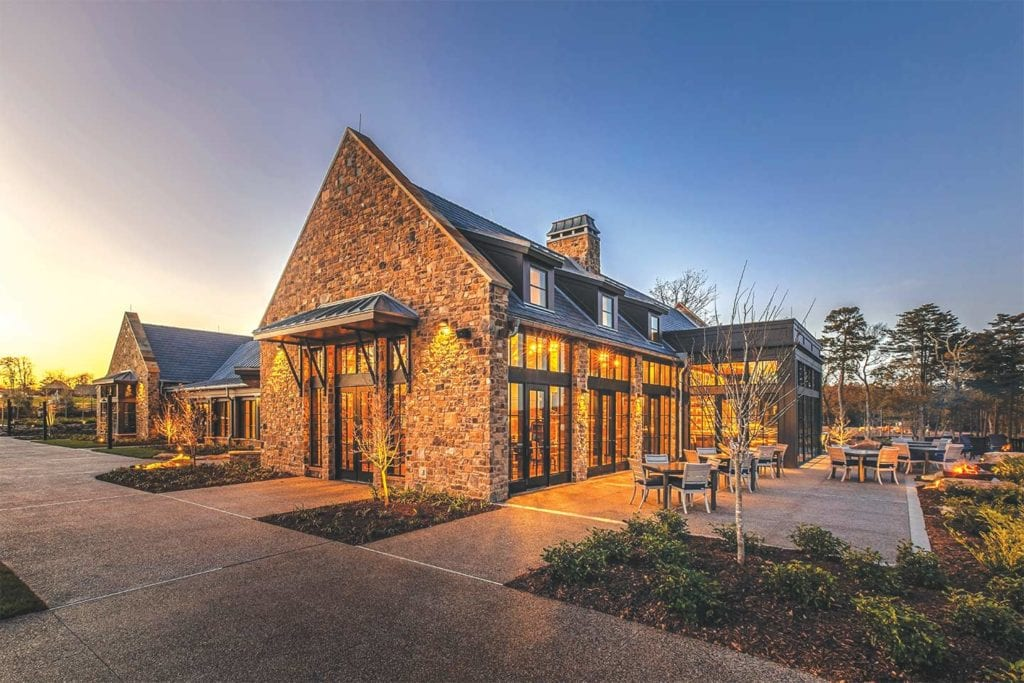 Exterior of the Creag Restaurant at the Clubhouse at McLemore; Photo by Lanewood Studio