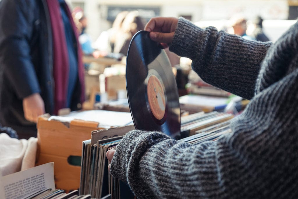 people shopping for vinyl LP records