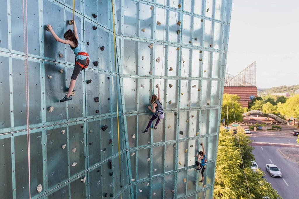 girls climbing the outdoor wall at High Point Climbing and Fitness in downtown Chattanooga