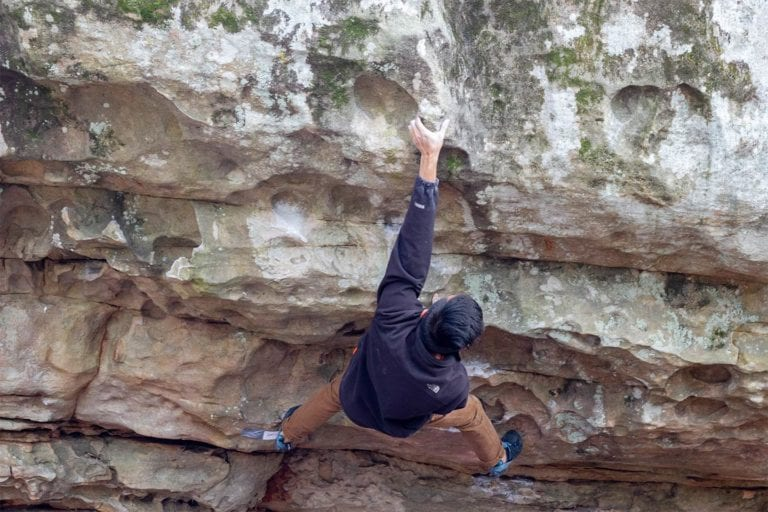 man rock climbing in Chattanooga; Photo by Drew Meyer