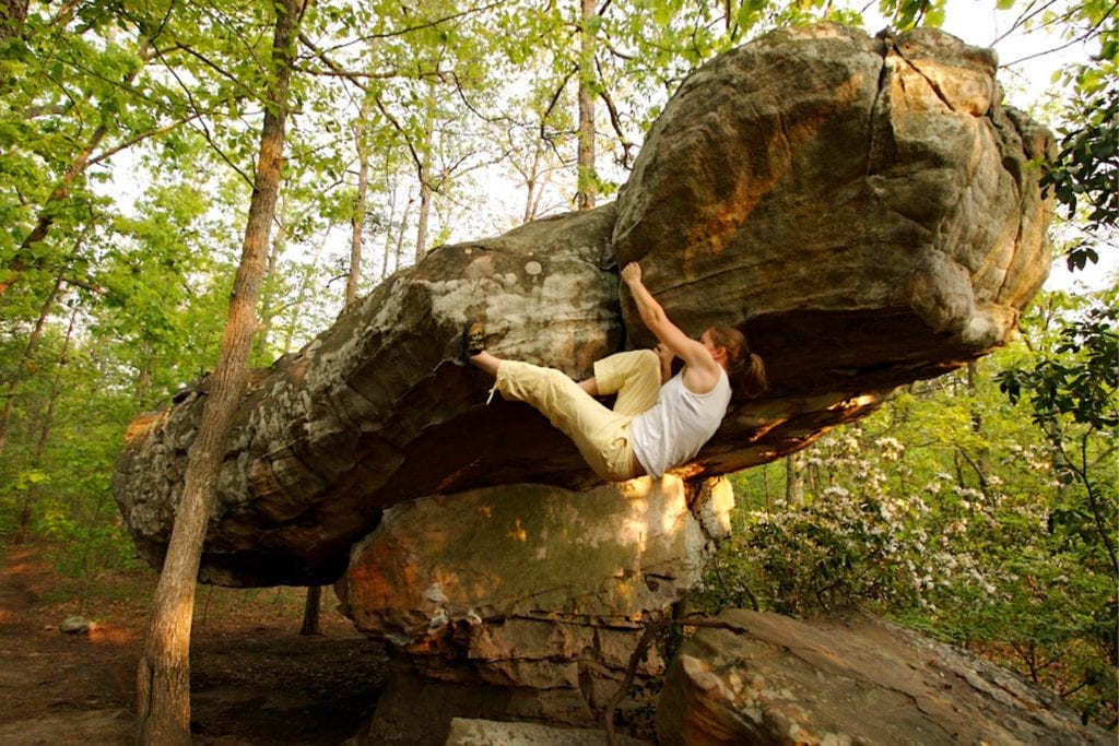 woman climbing at rocktown in Chattanooga