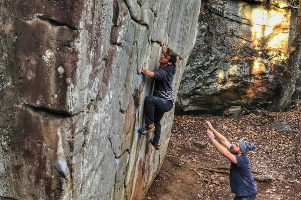 """men climbing at Stone Fort or """"Little Rock City"""" near Chattanooga"""