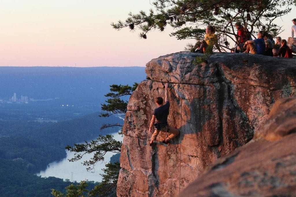 Climbers at Sunset Rock in Chattanooga TN