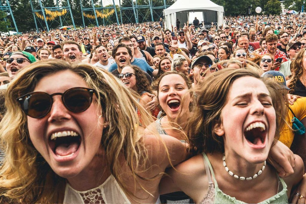 Excited crowd at the moon river music festival