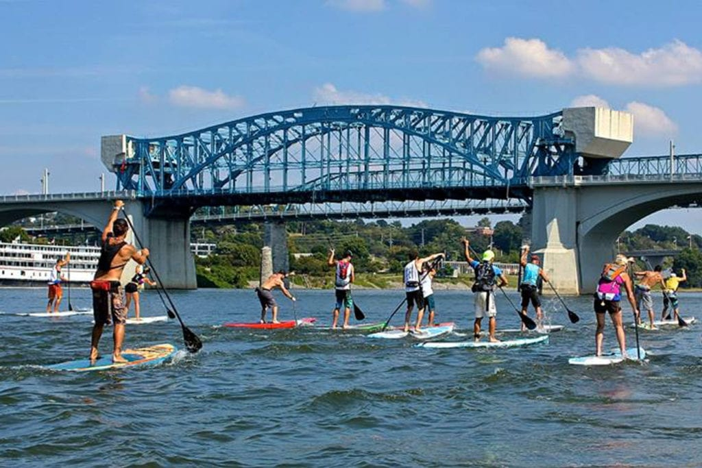 People paddleboarding on the Tennessee River with boards rented from L2 Outside
